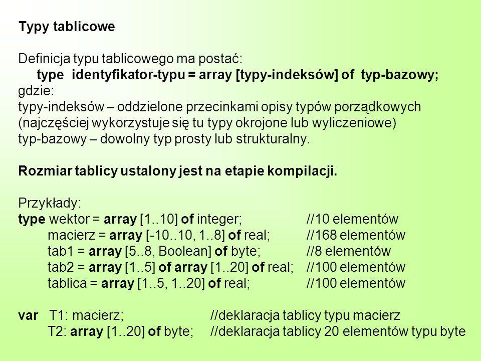 Typy tablicowe Definicja typu tablicowego ma postać: type identyfikator-typu = array [typy-indeksów] of typ-bazowy; gdzie: typy-indeksów – oddzielone przecinkami opisy typów porządkowych (najczęściej wykorzystuje się tu typy okrojone lub wyliczeniowe) typ-bazowy – dowolny typ prosty lub strukturalny.